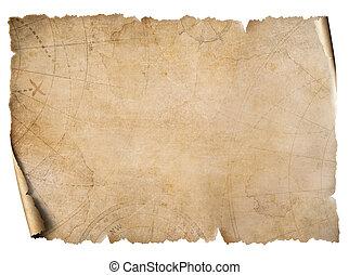 kaart, ouderwetse , schat, vrijstaand, witte , perkament