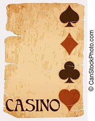 kaart, ouderwetse , vector, illustratie, casino
