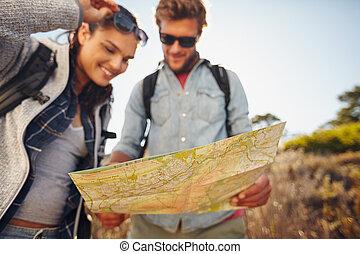 kaart, paar, wandeling, lezende , land