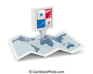 kaart, panama, plein, vlag, spelden