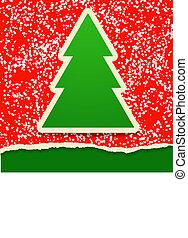 kaart, papier, boompje, kerstmis, rijten