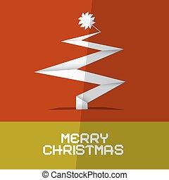 kaart, papier, boompje, kerstmis, vrolijk