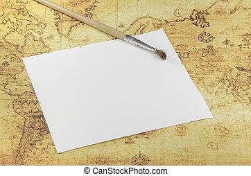 kaart, papier, oud, borstel, wereld