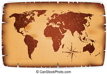 kaart, papier, oud