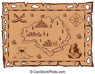 kaart, papier, schat, bruine