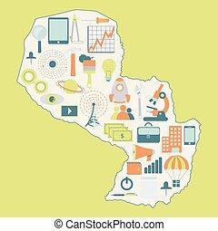 kaart, paraguay:, technologie beelden