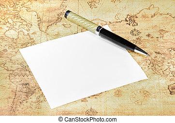 kaart, pen, papier, oude wereld