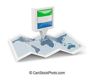 kaart, plein, spelden, vlag, sierra leone
