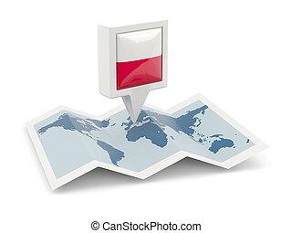 kaart, polen, plein, vlag, spelden