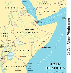 kaart, politiek, afrika, hoorn