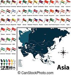 kaart, politiek, azie