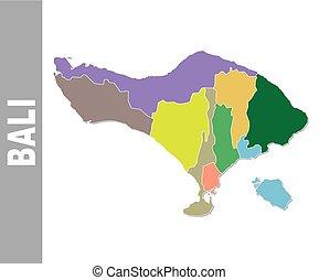 kaart, politiek, bali, kleurrijke, secretarieel