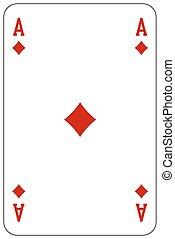 kaart, pook, diamant, spelend, aas