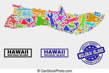 kaart, product, collage, eiland, molokai, postzegel, gereedschap, zeehondje, kwaliteit