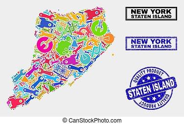 kaart, product, dienst, collage, eiland, staten, postzegel,...