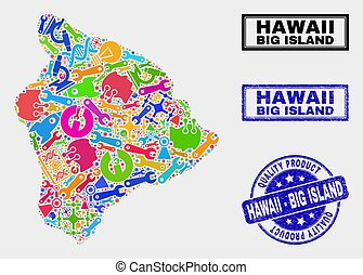 kaart, product, watermark, collage, groot, hawaii, gereedschap, eiland, kwaliteit
