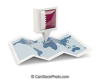 kaart, qatar, plein, vlag, spelden
