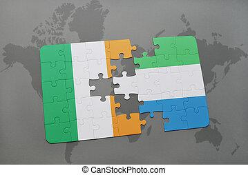 kaart, raadsel, vlag, ierland, sierra, wereld, nationale, leone