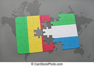 kaart, raadsel, vlag, mali, sierra, wereld, nationale, leone