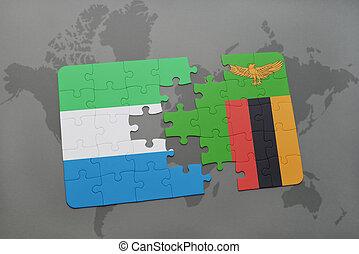 kaart, raadsel, vlag, nationale, sierra, wereld, zambia, leone