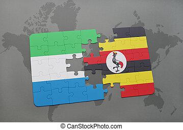 kaart, raadsel, vlag, oeganda, sierra, wereld, nationale, leone