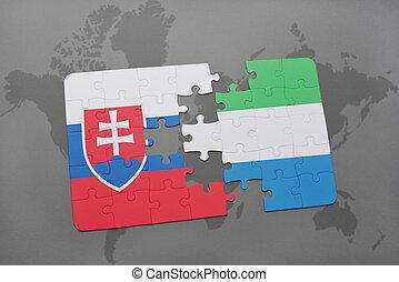 kaart, raadsel, vlag, slowakije, sierra, wereld, nationale, leone
