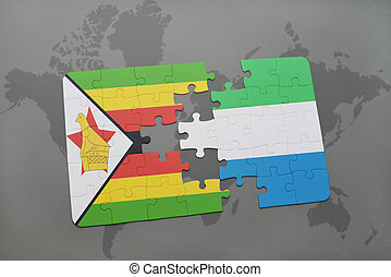 kaart, raadsel, vlag, zimbabwe, sierra, wereld, nationale, leone