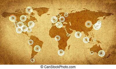 kaart, reiziger, retro, compass.