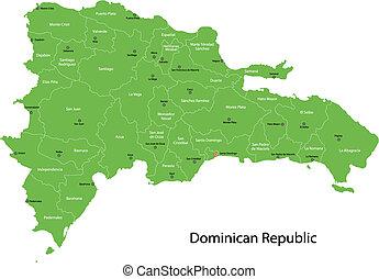kaart, republiek, dominicaans
