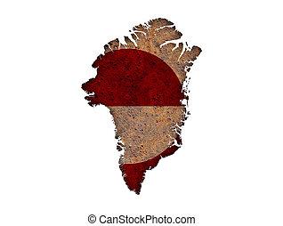 kaart, roestige , groenland, metaal, vlag