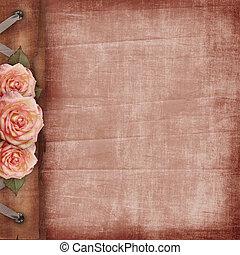 kaart, rooskleurige rozen, hartjes, liefde, ouderwetse