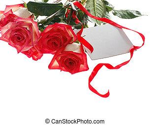 kaart, rozen, bouquetten, groet, rood wit