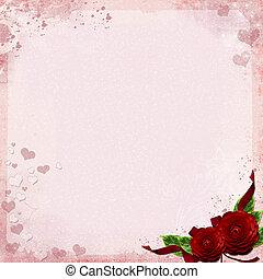 kaart, rozen, groet, achtergrond, of