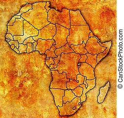 kaart, rwanda, daadwerkelijk, afrika