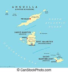 kaart, saint-martin, maarten, sint, barthelemy, heilige, anguilla