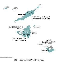 kaart, saint-martin, maarten, sint, politiek, barthelemy, heilige, anguilla
