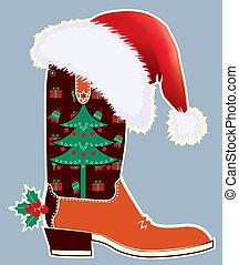 kaart, santa, kerstmis, laars, hoedje, cowboy, rood