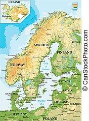 kaart, scandinavia-physical