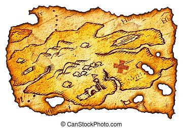 kaart, schat, aangebrand