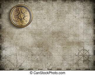 kaart, schat, achtergrond, illustratie, 3d