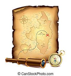 kaart, schat, piraten, verrekijker, kompas