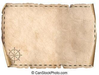 kaart, schat, vrijstaand, illustratie, achtergrond, 3d