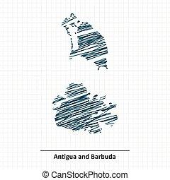 kaart, schets, barbuda, antigua, doodle