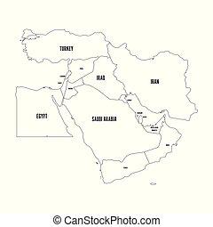 kaart, schets, ilustration, eenvoudig, politiek, plat, middelbare , vector, oosten, east., of