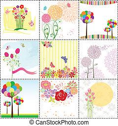 kaart, set, groet, kleurrijke, bloem