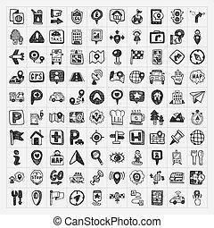 kaart, set, iconen, doodle, plaats, navigatiesysteem