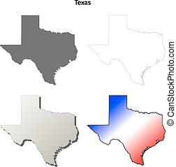 kaart, set, schets, texas