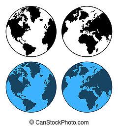 kaart, set, vrijstaand, vector, white., aarde