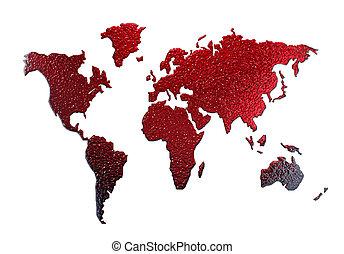 kaart, silhouette, metaal, vrijstaand, wereld, wit rood