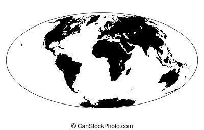 kaart, silhouette, projection., earth., continenten, witte ,...